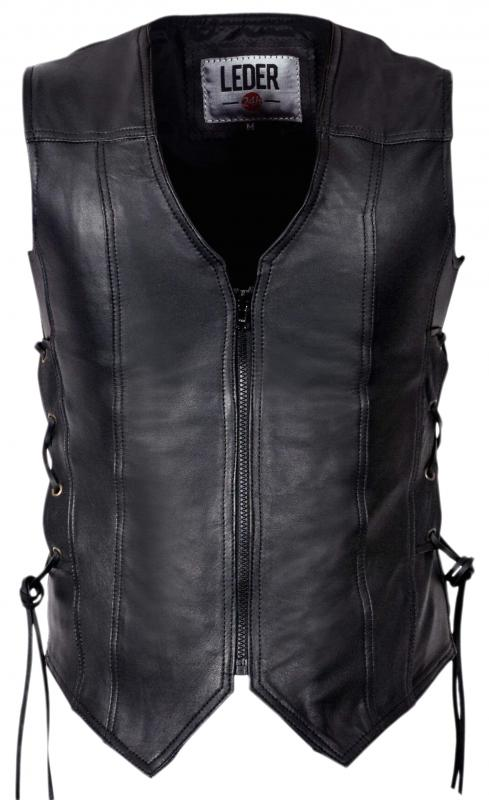 LEDER24H - LADIES LEATHER VEST BIKER CLUB JACKET BLACK - 1072