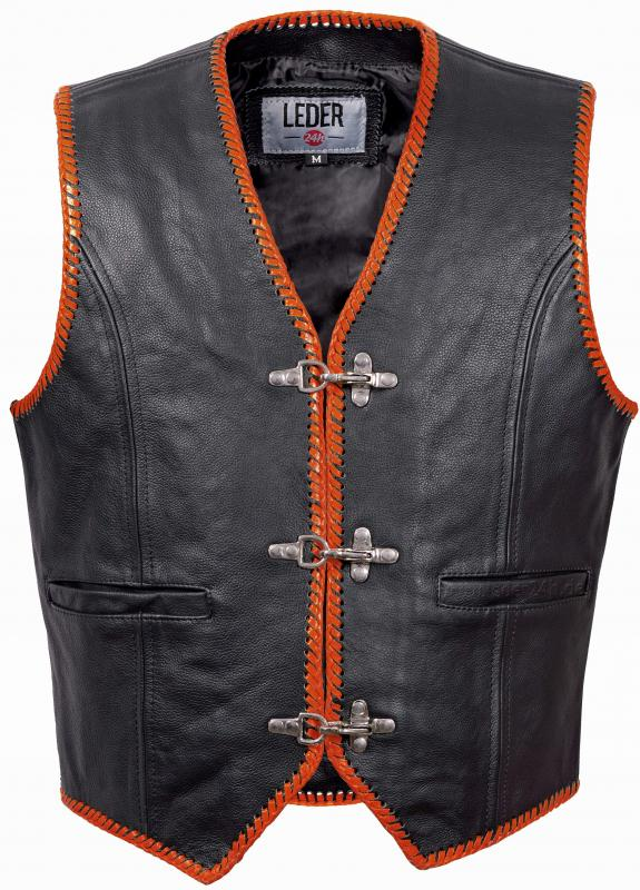 LEDER24H Lederkutte orange schwarz 1036